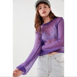 Urban Outfitters Neon Purple Cropped Sheer Sweater